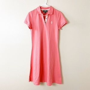 L-RL Active Cotton Collared Shirt Dress Pink #4179